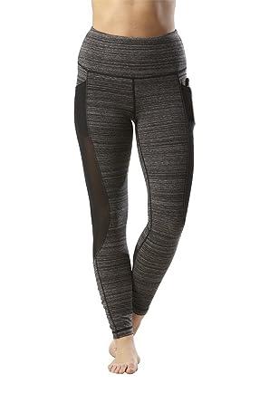 3e6215fb1bb9d Yogalicious High Waist Mesh Leggings with Phone Pocket - Tummy Control Yoga  Pants - Heather Oreo