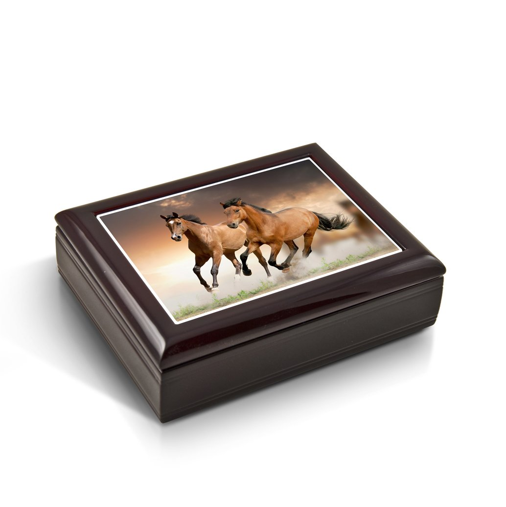 A Pair Of Competitive Wild Horses Tile Musical Jewelry Box - Rock of Ages - Christian Version by MusicBoxAttic