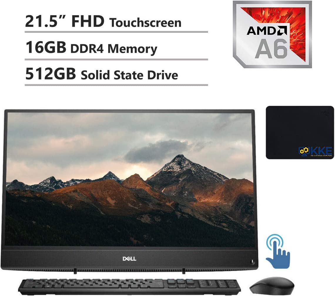 """Dell Inspiron 3000 All-in-One Desktop Computer 21.5"""" FHD Touchscreen, AMD A6-9225, 16GB RAM, 512GB SSD, HDMI, Multi-Card Reader, USB 3.1, Wi-Fi, Bluetooth, Wired Keyboard&Mouse, Win10"""