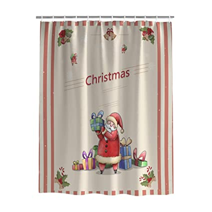 100 Polyester Fabric Christmas Shower Curtain For Bathroom Decorations