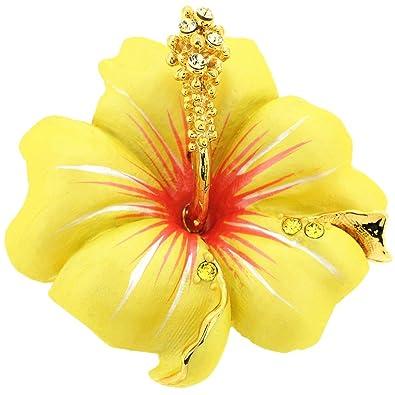 f2403444f72 Amazon.com: Fantasyard Small Yellow Hawaiian Hibiscus Swarovski Crystal  Flower Pin Brooch and Pendant: Jewelry
