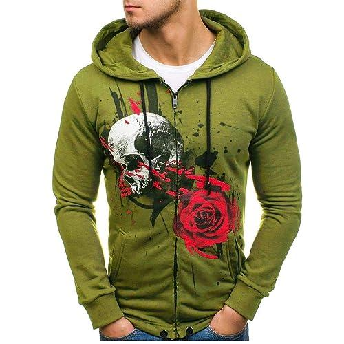 bf23f205f3625 Amazon.com: Amiley mens hoodies,Mens Fashion Print Skull Slim Fit Hoodie  Autumn Casual Full Zip Hooded Sweatshirt Top Gray: Shoes