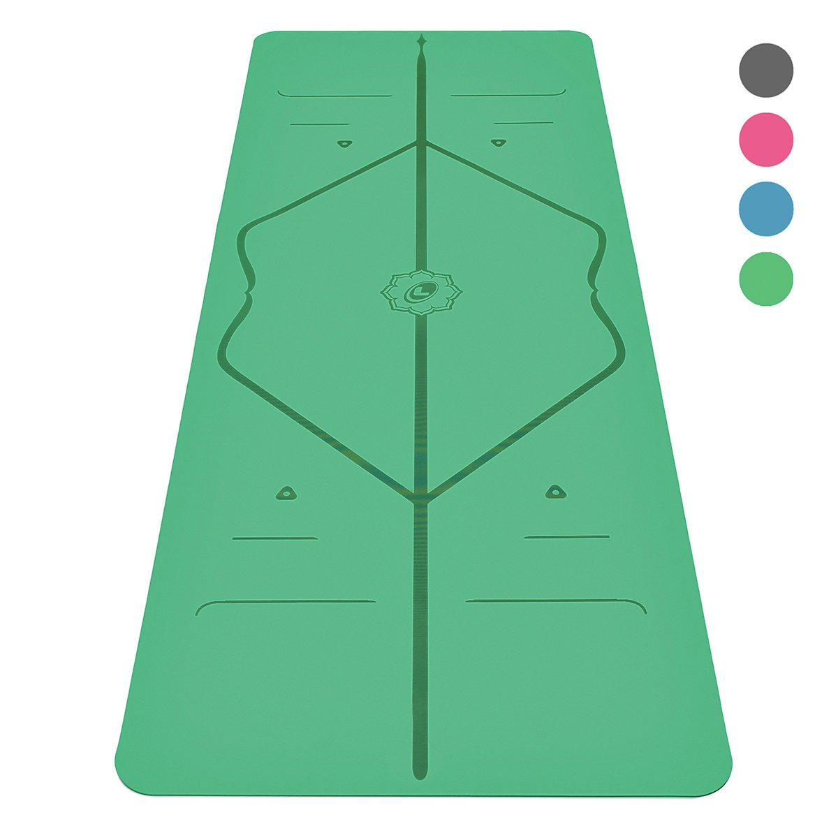Liforme Yoga Mat - The World's Best Eco-Friendly, Non Slip Yoga Mat with The Original Unique Alignment Marker System. Biodegradable Mat Made with Natural Rubber & A Warrior-Like Grip (Green)
