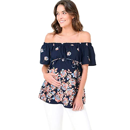 de58118f2a263d Women s Maternity Off Shoulder Tops Pregnant T-Shirt Boho Floral Print Plus  Size Loose Tee