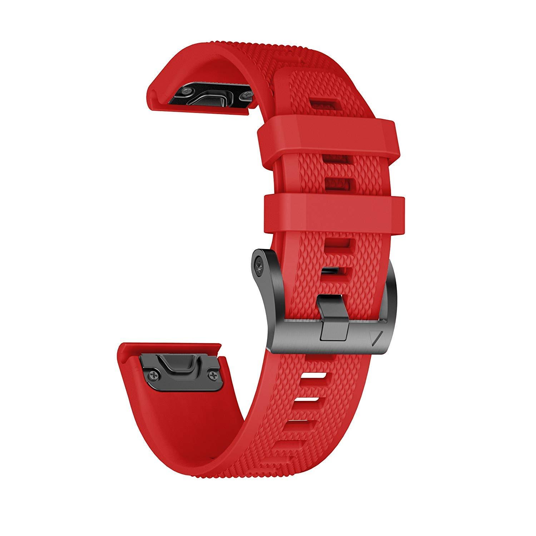ANCOOL Compatible Garmin Fenix 5 Band Easy Fit 22mm Width Soft Silicone Watch Strap Compatible Garmin Fenix 5/Fenix 5 Plus/Forerunner 935/Approach S60/Quatix 5 - Red