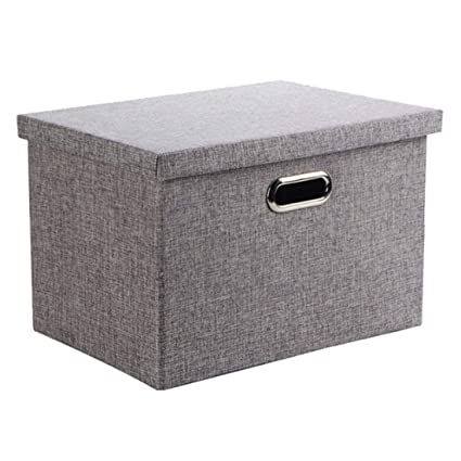 Storage Box, Wintao Collapsible Linen Fabric Clothing Storage Basket Bins  With Lids, Gray,
