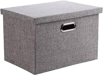 Caja de Almacenaje, Wintao Ropa de Lino Plegable Cestas de Almacenamiento de Ropa con Tapas, Gris, 3 tamaños - L: Amazon.es: Hogar