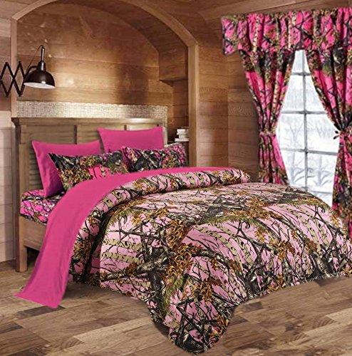 20 Lakes Woodland Hunter Camo Comforter Set (Pink / Bright Pink, Cal King)