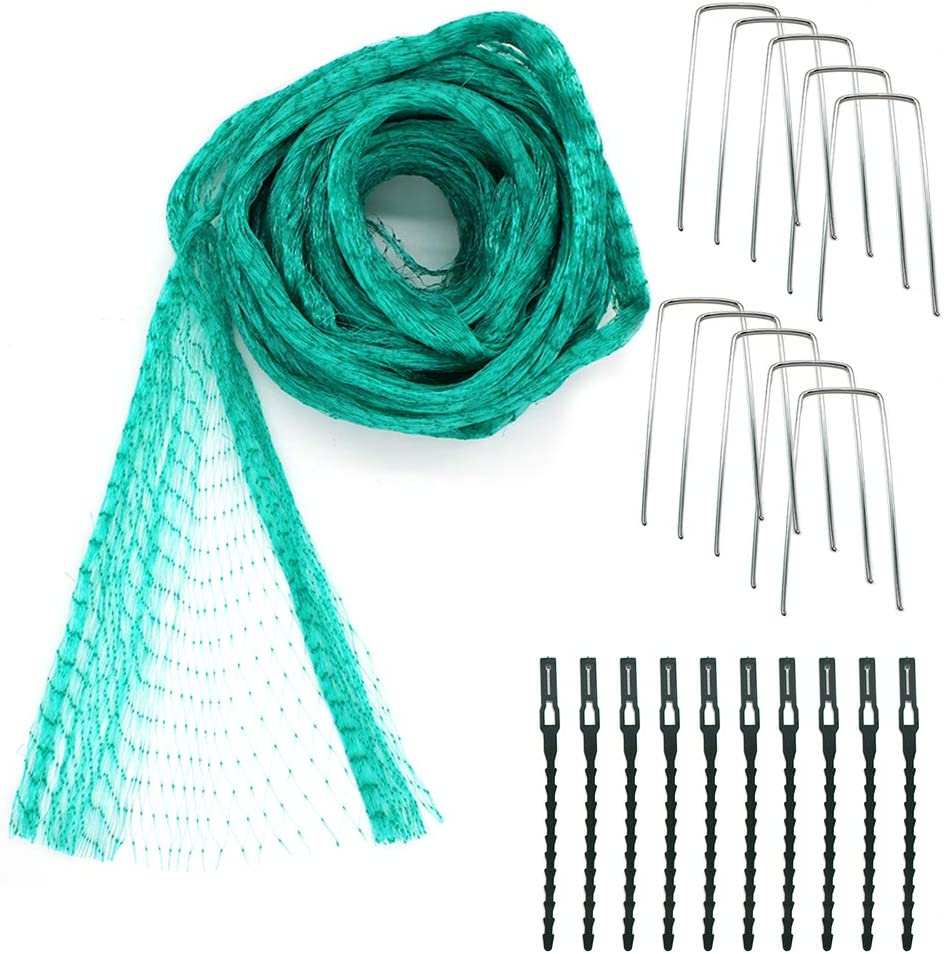 MR.FOAM Garden Netting,Bird Netting for Garden and Plants Garden Mesh Netting for Fruit Trees with Cable Ties and U-Shaped Garden Pegs (Green).