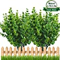 Artificial Plant Outdoor UV Resistant Eucalyptus Leave Shrubs Plastic Fake Bushes Window Box Greenery for Home Indoor Garden Light Green Verandah Office Wedding Decor Wholesale - 8 PCS