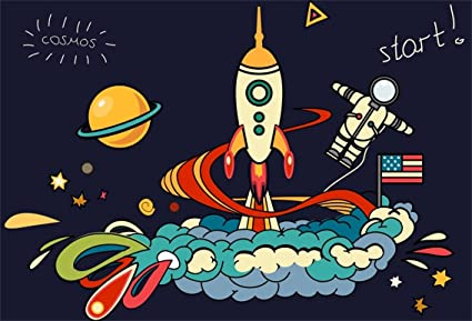 CSFOTO 6x4ft Background For Rocket Launch Cosmos Astronaut American Flag Photography Backdrop Cartoon Space Planet Astronomy