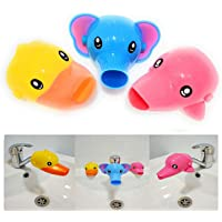 AUMA Set of 3 Cute Cartoon Faucet Extender, Bath Spout Cover for Toddler, Baby, Children Safe and Fun Washing Solution…