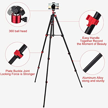 Portable Tripod Nagnahz 55inch Camera Tripod for DSLR Mobile Phone iPhone Xs//Xr//Xs Max//Galaxy Note 9 Gopro Compact Macro Video Camera with Bluetooth Remote Cellphone Holder Metal Panorama Ball Head