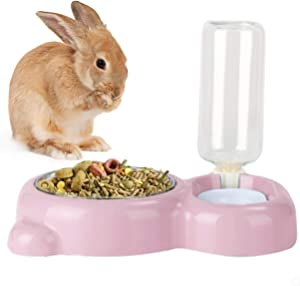 Rabbit Double Bowls Bunny Automatic Water Dispenser Detachable Stainless Steel Bowl No-Spill Water Bottle Food Feeder for Small Animals Bunny Squirrel Cat Puppy Chinchilla