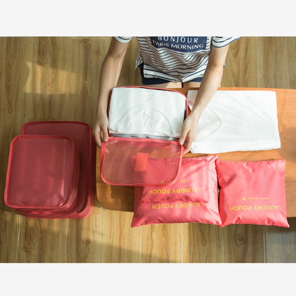 6 pcs Luggage Packing Organizers Packing Cubes Set for Travel Vinmax Storage Bags with Laundry Bag Packing Pouches (Watermelon Red)