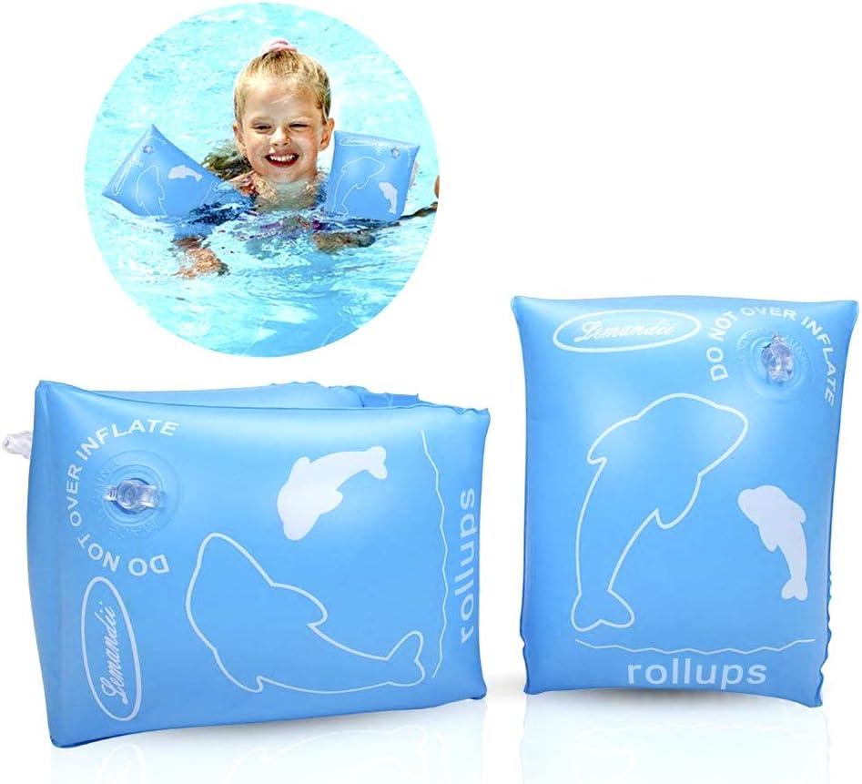 ALIXIN-Brazaletes inflables flotantes Anillos,Flotadores Alas de Agua Brazos,Anillos de natación Brazaletes de Tubos para niños pequeños y Adultos(más de 4 años Peso Menos de 80 kilogramos, Azul)