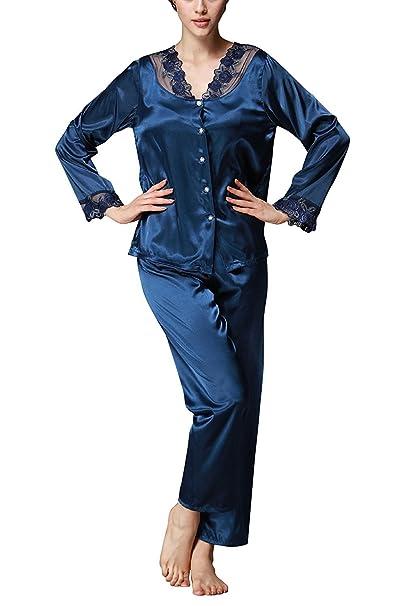 TT Global Vestido Pijama Mujer Sexy, Pijamas Mujer Set de Satén Largo Camisones de Mangas