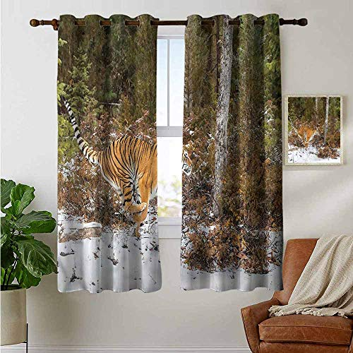 (petpany backout Curtains for Bedroom Safari,Bengal Tiger Wild Animal,Pocket Thermal Insulated Tie Up Curtain 42