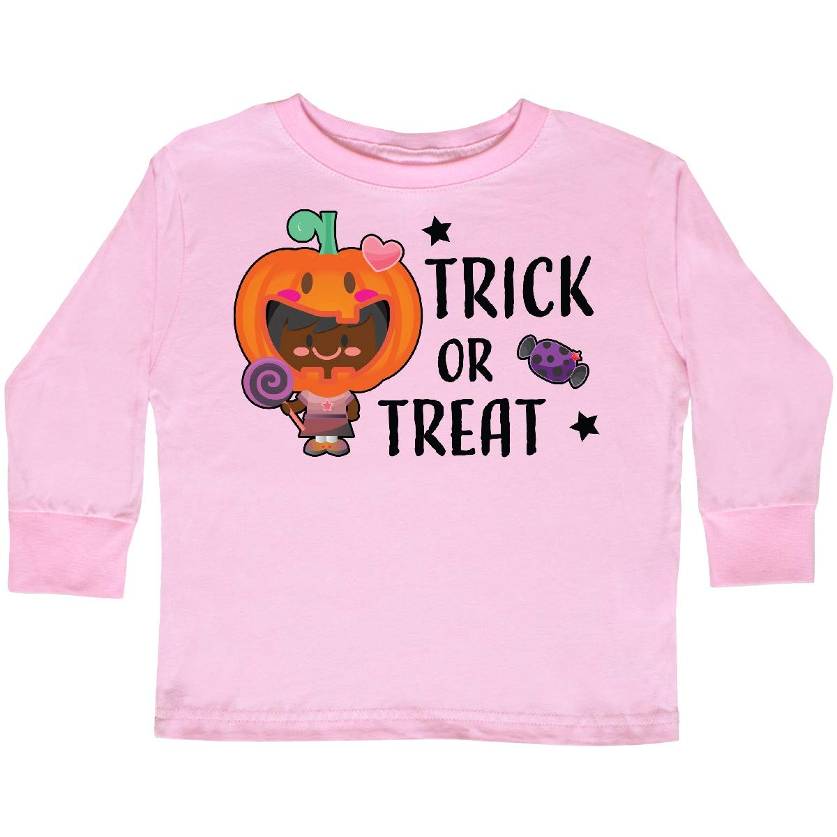 inktastic Trick or Treat Girl with Pumpkin and Black Toddler Long Sleeve T-Shirt