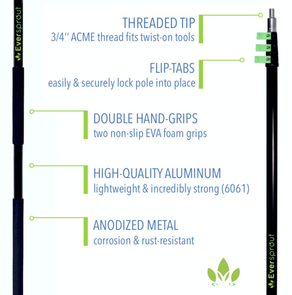 EVERSPROUT 4-Pack Duster Squeegee Kit with Extension-Pole (30+ Foot Reach) | Swivel Squeegee, Hand-Packaged Cobweb Duster, Microfiber Feather Duster, Flexible Ceiling Fan Duster, 24 ft Telescopic Pole by EVERSPROUT (Image #9)