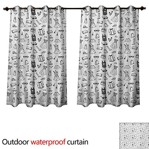 - WilliamsDecor Heels and Dresses Home Patio Outdoor Curtain Female Fashion Themed Pattern Sketch Cartoon Style Doodle Garments W108 x L72(274cm x 183cm)