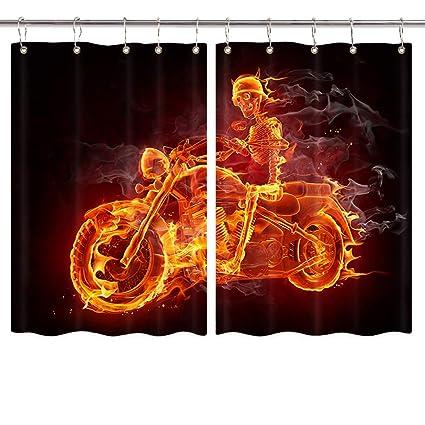 Amazoncom Nymb Burning Motorcycle Kitchen Curtain Funny