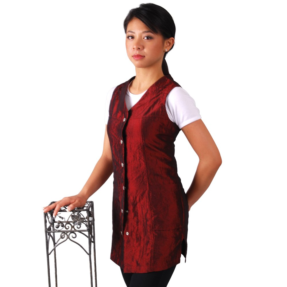 JMT Beauty Sleeveless Burgundy Salon Smock (S (6))