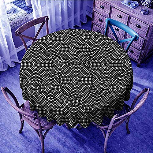 ScottDecor Black and White Jacquard Tablecloth Concentric Dotted Circles Inspired from Australian Aborginial Art Kids Round Tablecloth Grey Black White Diameter ()