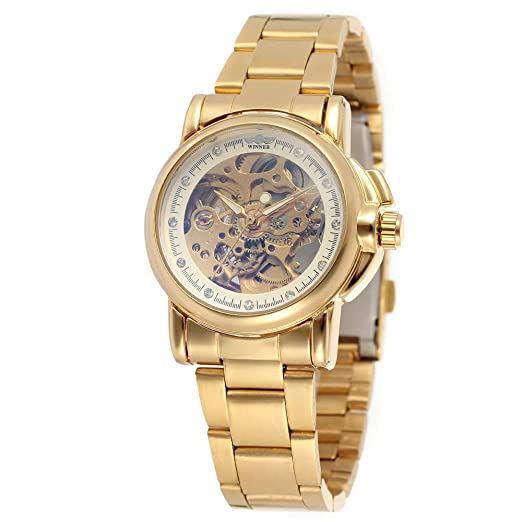 HWCOO Relojes Winner Ms. Automatic Mechanical Watch Reloj mecánico Steel Band Table (Color :