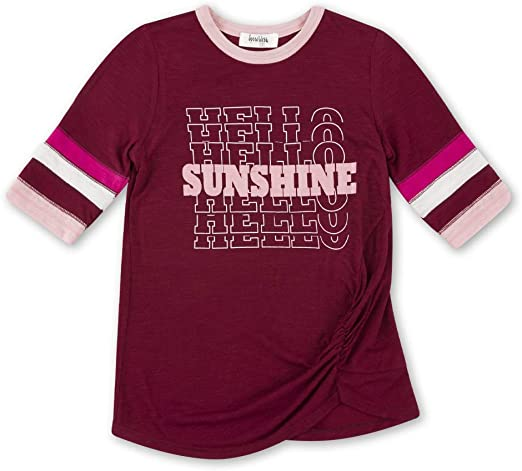 M Burgundy Speechless Big Girls Sporty Side Rouched T-Shirt