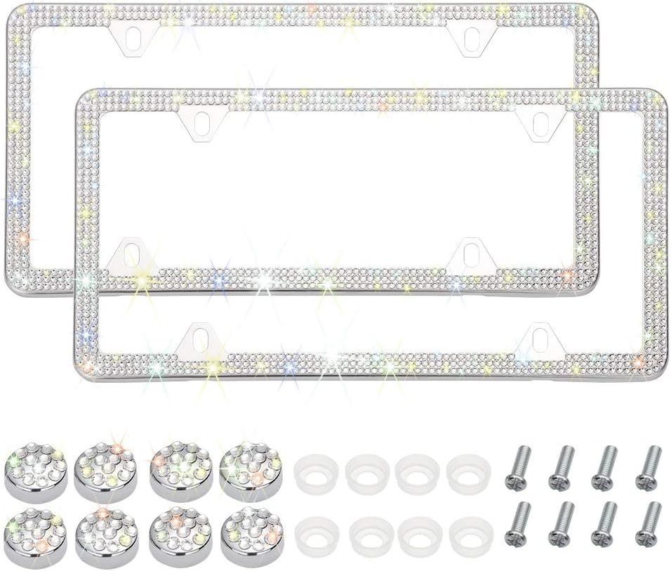 6 Rows Handmade Finest 14 Facets SS20 Diamond Stainless Steel 2 Holes License Plate Holder Cover Black Otostar 2 Pack Bling Crystal Car License Plate Frames