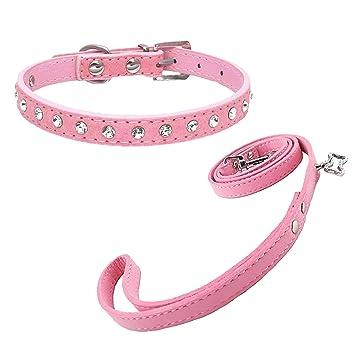 Tienda De Mascotas Paw Print Juego de plomo y cuello rosa