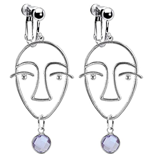 Abstract Beauty Girl Face Emoji Clip on Earrings with Crystal June Birthstone Drop