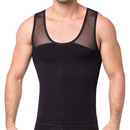 99140c6db261a Image Unavailable. Image not available for. Color  GSKS Mens Body Shaper  High Compression Shirt for Hide Gynecomastia Chest Slimming Vest ...