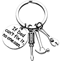 JOVIVI Father Key Chain for Dad Papa,Love You Daddy/If Dad Can't fix it,no one can Keyring,Repair Tools/Hand Saw/Axe/Shovel Keychain Ring,Fathers Day Gift
