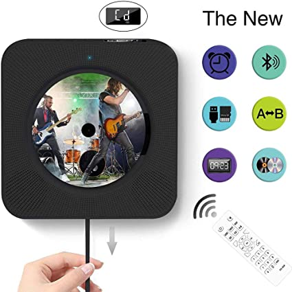 Hlkj Bluetooth Cd Player Portable Cd Player With Bluetooth Wall Mount Remote Control Fm Radio Built In Hifi Speaker Mp3 Headphone Jack Black Sport Freizeit