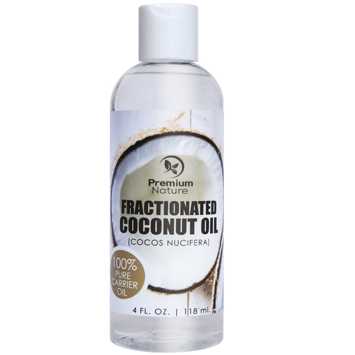 Fractionated Coconut Oil Natural Carrier Oil - 4 oz Nourishes Skin For Face & Body Moisturizes Repairs Damaged Hair - Antibacterial & Antifungal Properties Premium Nature