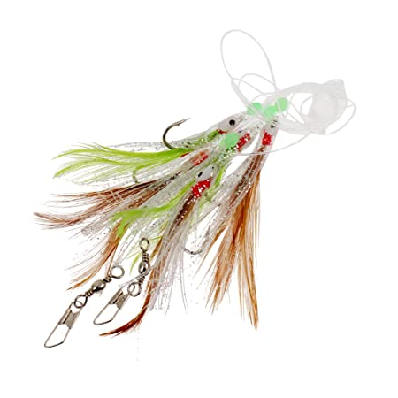 MonkeyJack 4 Pieces Artificial Lure Rig Fish Skin Sabiki Cod Flatties Bass Mackerel Tinsel Feathers 4 Hooks