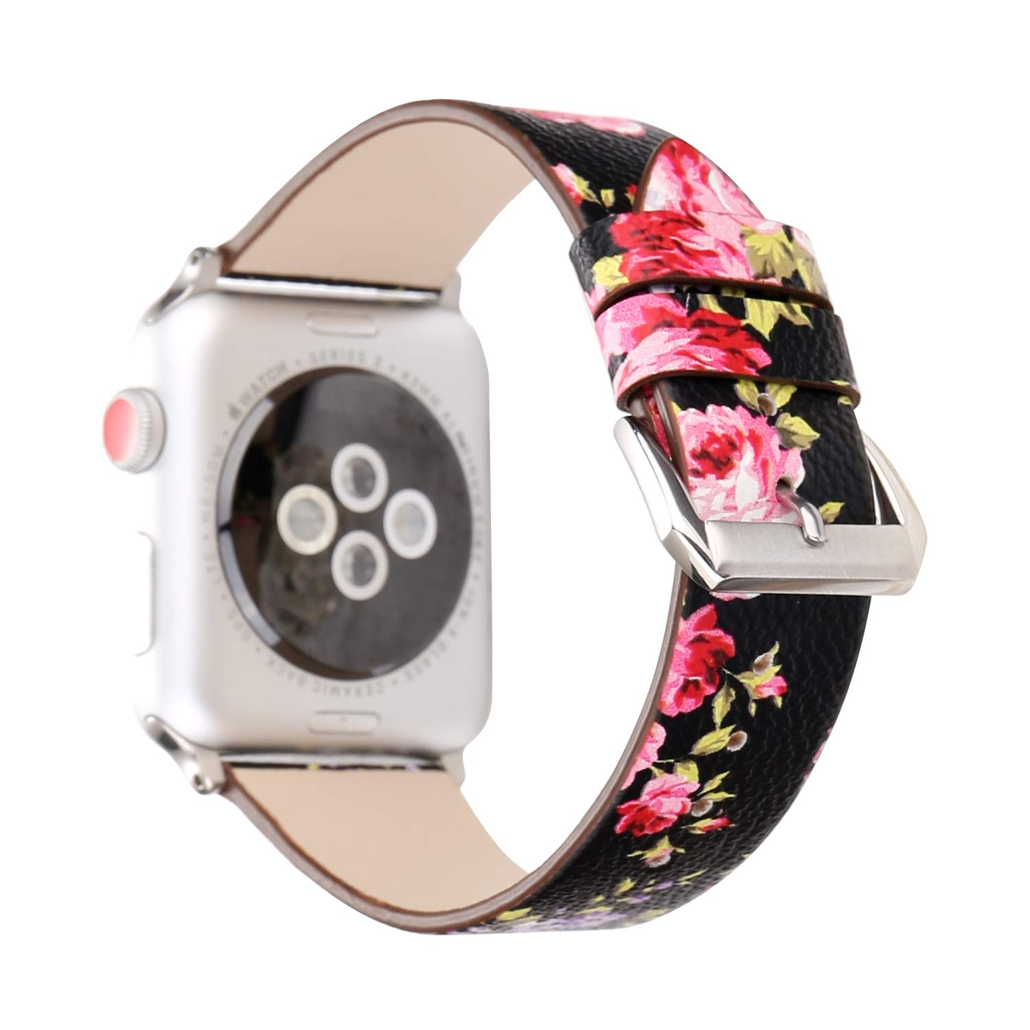 Pantheon Designer Leather Watch Band Compatible with Apple iWatch Series 4 3 2 1, 38mm / 40mm