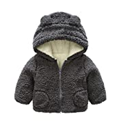 KONFA Toddler Newborn Baby Boys Girls Cartoon Bear Hooded Jacket,Kids Thick Warm Coat Tops Winter Outerwear Cloak Clothes Set (Grey, 6-12 Months)