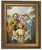 Gerffert Collection Praying Holy Family Framed Portrait Print, 13 Inch (Ornate Gold Tone Finish Frame)