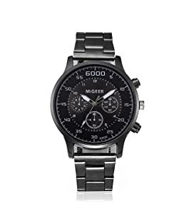 Reloj de pulsera casual para hombres,KanLin1986 Reloj de pulsera analógico de cuarzo Relojes deportivos en acero inoxidable para hombres (Negro)