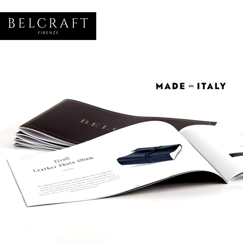 Blu 23x30 cm A4 Realizzato a Mano da Artigiani Toscani Belcraft Tivoli Album Fotografico in Pelle Riciclata