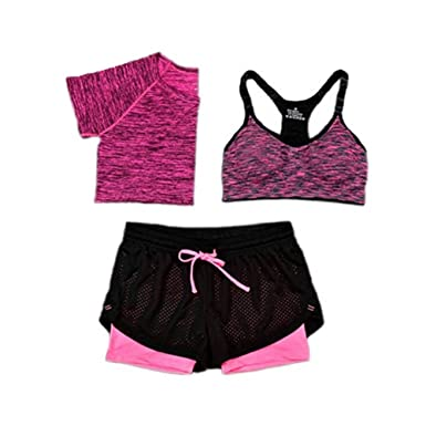 bbf4ccad85a Amazon.com  Women Bra T-Shirt Sports 3 Piece Sets Running Sports Yoga Gym  Outfit Workout Athletic Suit Set  Clothing