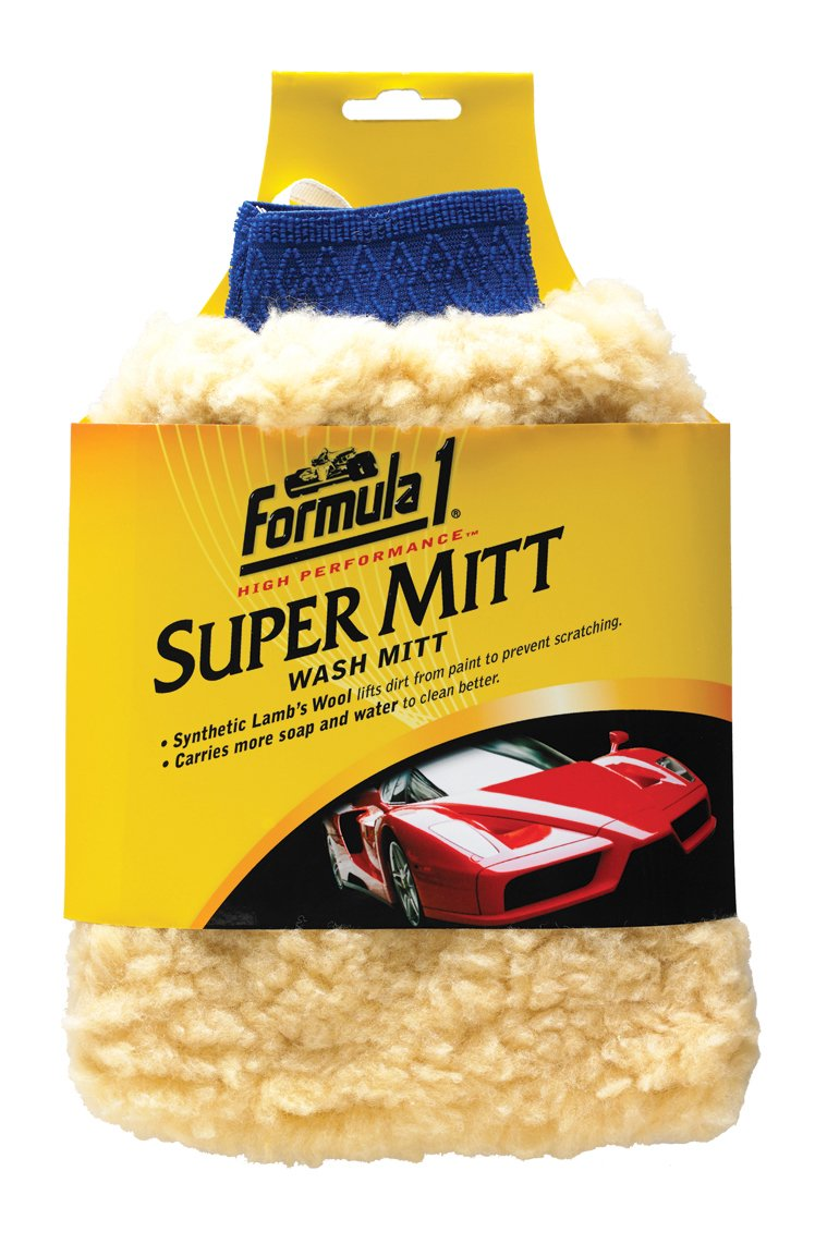 Formula 1 Super Mitt - Synthetic Lamb's Wool Car Wash Mitt - For Wet and Dry Applications 625004