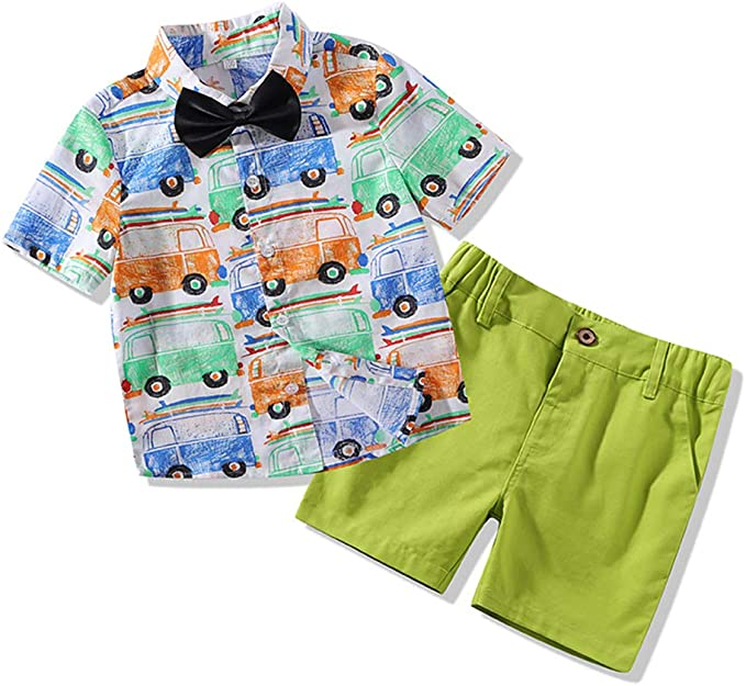 Little Boys 2 Pieces Short Set-Plaid Woven Shirt and Overalls Shorts Outfits Set