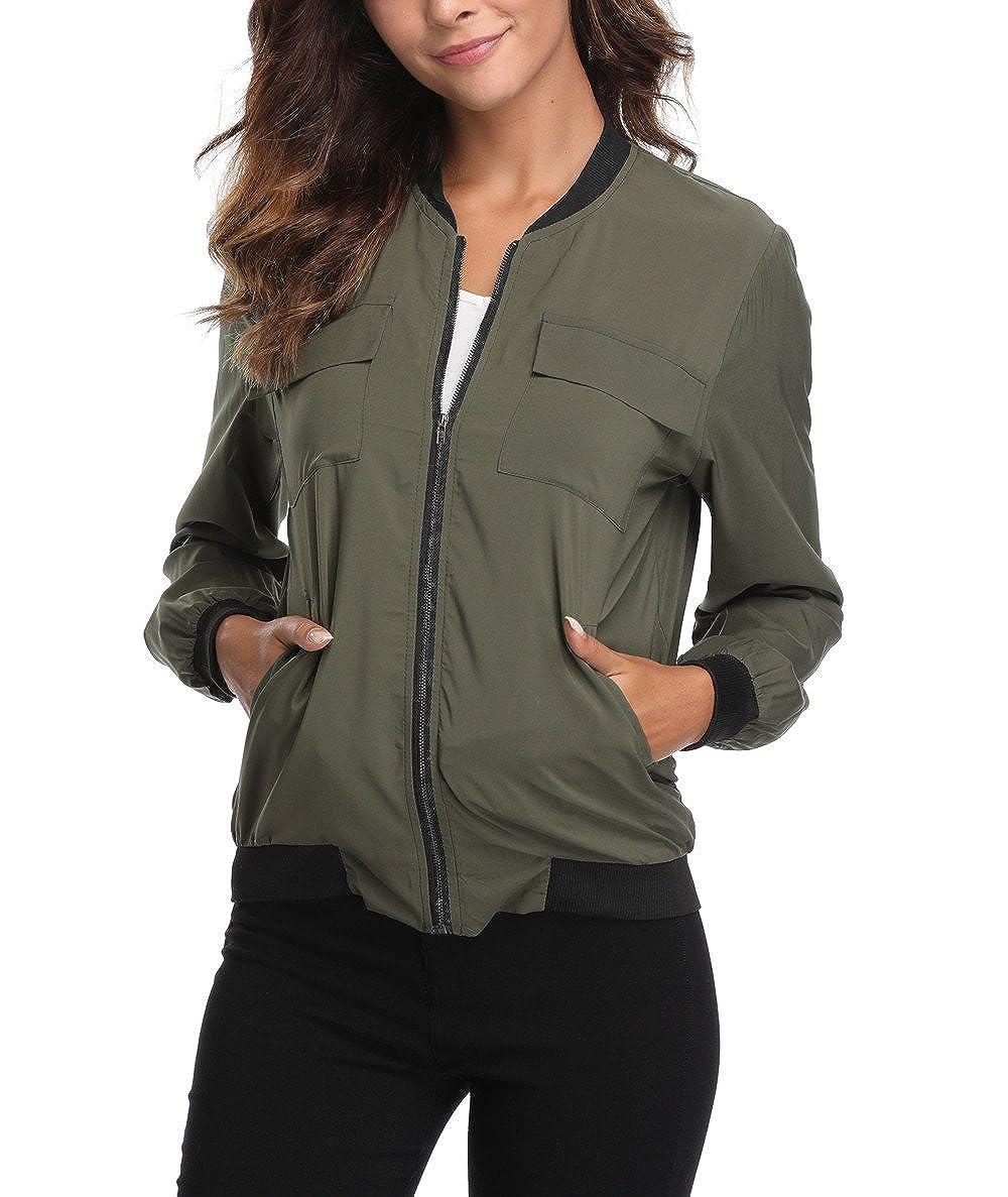 d6ad03a6473 MISS MOLY Women s Lightweight Jackets Zip Up Coat Rib Collar Multi-Pockets Windbreaker  Bomber Jacket Outwear at Amazon Women s Coats Shop