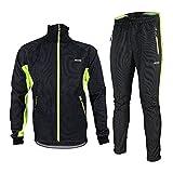 Fleeced Jacket Set Warm Up Windproof Windbreaker Breatheable Cycling Set MTB Road Racing Clothes Green 2XL