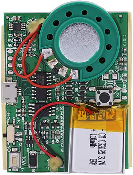 Yesbaby Music Sound Voice Recording Module Chip Rechargeable Lithium Battery photosensitive Control for DIY Audio Cards