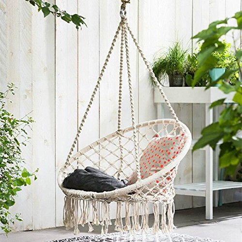Apollo Box Hammock Chair, 300 Pound Capacity Macrame Swing Chair Included Hammock Hanging Accessory, Perfect for Indoor/Outdoor Home Patio Deck Yard Garden Reading Leisure Lounging,White by Apollo Box